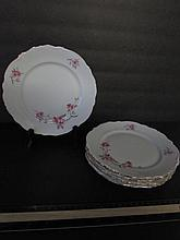 BAVARIA CHINA PLATES (5) FLORAL DESIGN, WITH GOLD GILT TRIM. 8