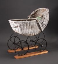 Vintage White Wicker Doll Buggy