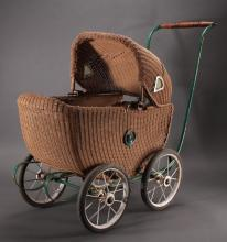 Victorian Era Toy Wicker Doll Buggy
