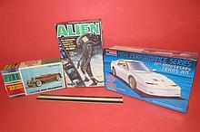 3 VINTAGE PLASTIC CAR MODEL KITS 32 PIERCE ARROW CUSTOM CONVERTIBLE, 1979 ALIEN MODEL KIT, 20TH ANNIVERSARY TRANS AM