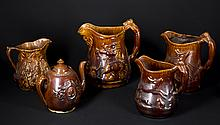 Lot of Five Rockingham Pottery Pieces