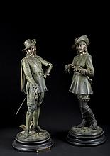Victorian Spelter Pair of French Figures of 2 Musketeers