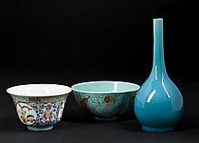 Chinese Porcelain Rice Bowls and Bud Vase