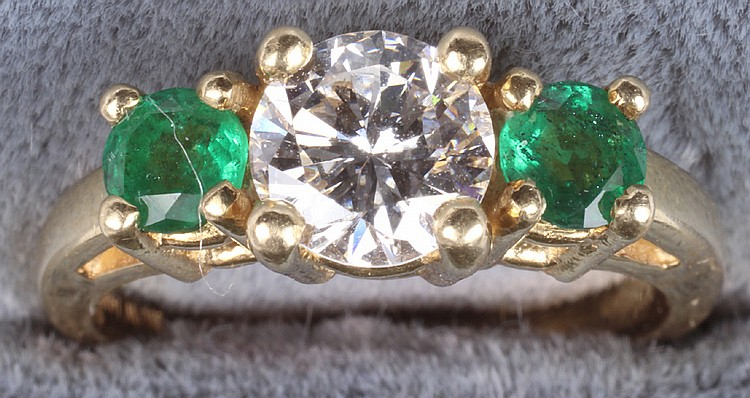 Yellow Gold Ladies Diamond And Emerald Ring