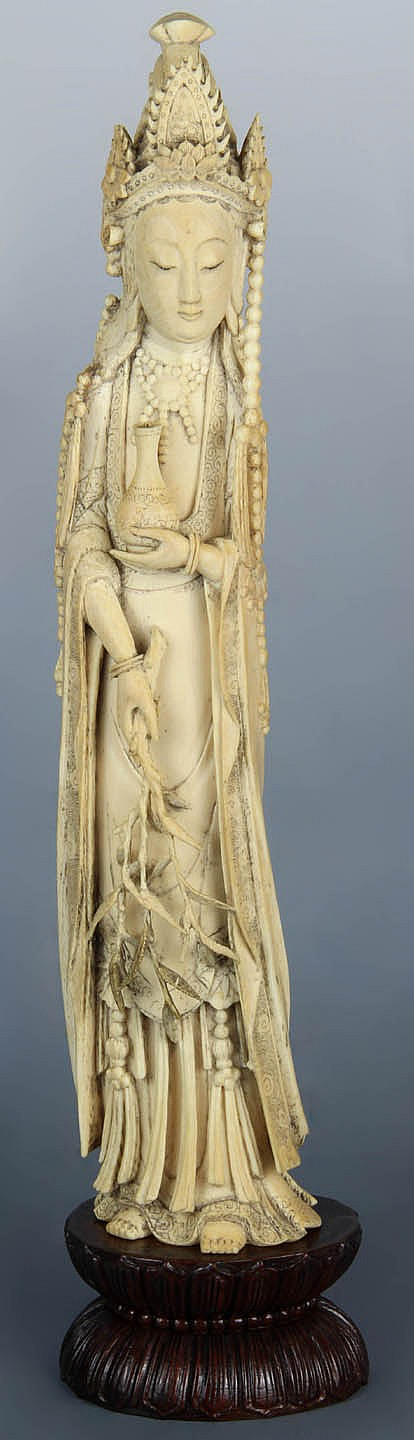Chinese Carved Ivory Quin Yen Figure