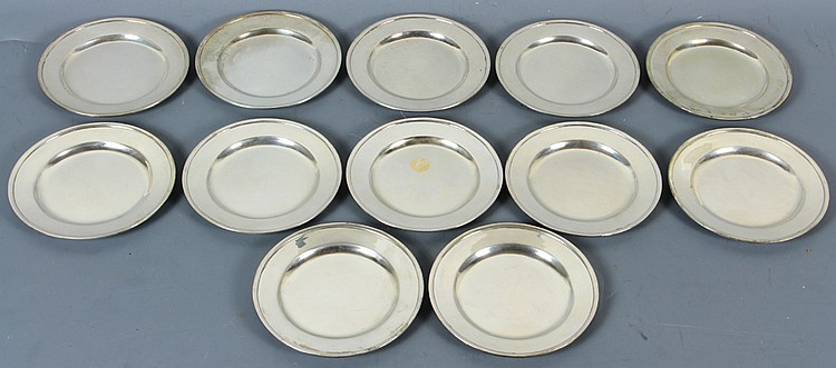 Twelve Arthur Stone Sterling Plates