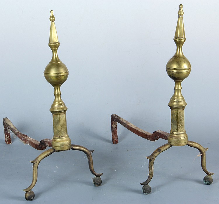 Pair of Brass Federal Andirons