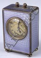 Silver and Enamel Miniature Clock, marked