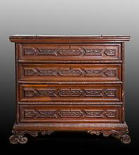 Early Italian Baroque Carved Secretary Chest