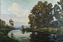 Anthony Thieme oil on canvas of Merrimack River