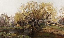 William Preston Phelps, oil on canvas of a woodland landscape