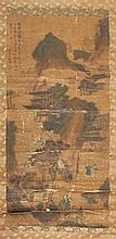 Chinese Scroll Painting of a mountain village with monkeys in the trees