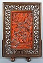 Chinese carved Lacquer Scholar Screen