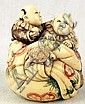 Ivory Katabori Netsuke of Two Twin Boys