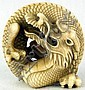 Ivory Katabori Netsuke of a Coiled Dragon