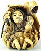 Ivory Katabori Netsuke of a Beautiful Maiden