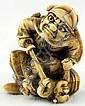 Ivory Katabori Netsuke of Shoki and Oni