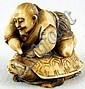 Ivory Katabori Netsuke of a Man Riding a Turtle