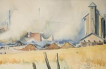 Reginald Marsh watercolor of an industrial scene