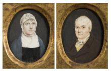 Pair of Miniature Portrait Paintings on Ivory