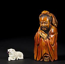 Chinese Carvings of Scholar and Snuff Bottle