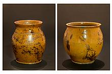 Two Decorated Redware Jars