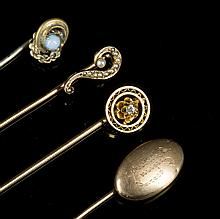 Four Yellow Gold Stick Pins