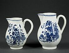 Two Worcester Blue and White Handled Pitchers