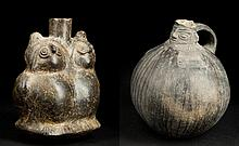 Two Peruvian Figural Spouted Vessels