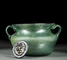 Roman Glass Coin and Vessel