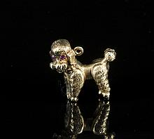 14K Yellow Gold Poodle Charm