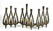 Old Israeli Brass  jewish Hannukah menorah lamp