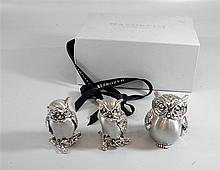 Lot 3 figures owls, 925 sterling silver, electroforming,   made by