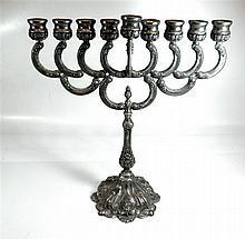 Standing Pewter Jewish Hannukah Menorah lamp