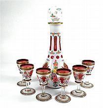 Set Decanter and 6 compatible glasses,  Bohemian