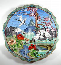 Quality very large Chinese Cloisonne plate