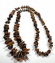 Polished tiger-eye stones necklace