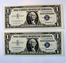 Lot 2 one dollar bills, 1957לוט 2 שטרות דולר אחד, 1957, מספרים רצים וחותמת כחולה
