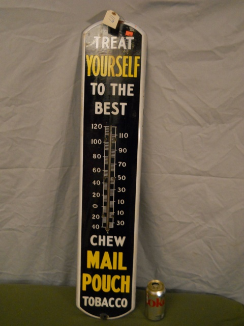 Porcelain Mail Pouch Tobacco Advertising Thermometer