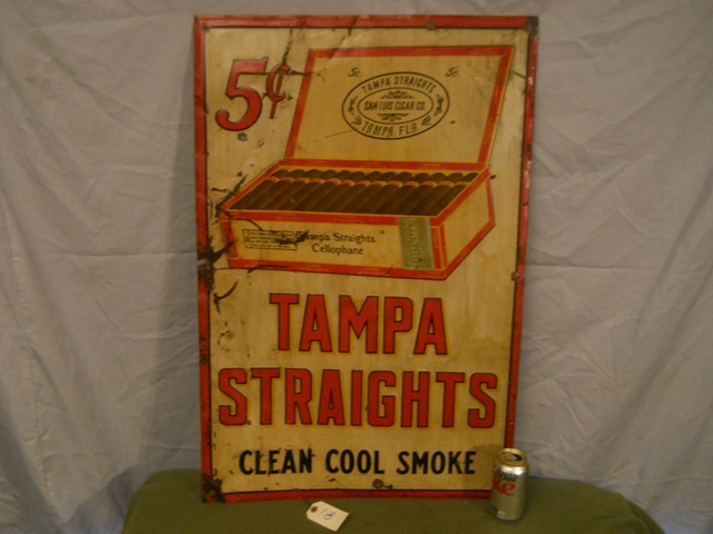 Large Tampa Straights Cigars Tin Embossed Advertising Sign