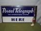 Porcelain Double Sided POSTAL TELEGRAPH Flange Sign-30x66