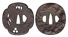 TWO IRON TSUBA, LATE 19TH CENTURY The first a