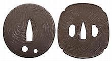 TWO IRON ITAME (WOOD GRAIN DESIGN) TSUBA, 19/20TH