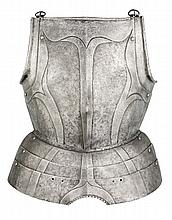 A GERMAN BREASTPLATE WITH EMBOSSED DECORATION IN THE 'BLACK AND WHITE' FASHION, CIRCA 1570-80