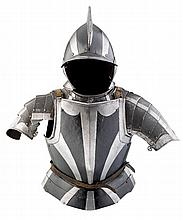 A COMPOSITE  SOUTH GERMAN LIGHT FIELD ARMOUR IN THE 'BLACK AND WHITE' FASHION, LATE 16TH CENTURY WITH EARLY 17TH CENTURY BURGONET