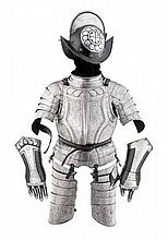 A COMPOSITE NORTH GERMAN LIGHT FIELD ARMOUR WITH EMBOSSED DECORATION IN THE 'BLACK AND WHITE' FASHION,  LATE 16TH/EARLY  17TH CENTURY