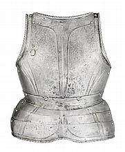 A SOUTH GERMAN BREASTPLATE WITH EMBOSSED DECORATION IN THE 'BLACK AND WHITE' FASHION, NUREMBERG, CIRCA 1540-50