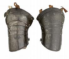 TWO COMPOSITE GERMAN SPAUDLERS FROM AN 'ALMAIN COLLAR', EARLY 17TH CENTURY
