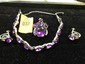 Estate Ladies 10kt White Gold Amythyst Bracelet, Earrings and Pendant