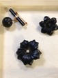 Estate Black Color Ladies Pins with Gold Backs
